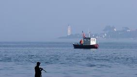 Fishing In The Sea Stock Photo
