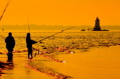 Fishing In The Surf 4 Royalty Free Stock Photos