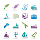 Fishing industry icons Stock Photo