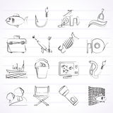 Fishing industry icons Royalty Free Stock Photos