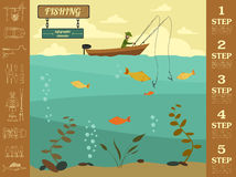 Fishing infographic elements. Set elements for creating your own Stock Images