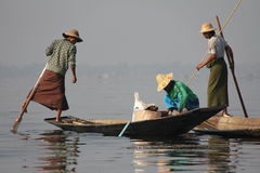 Fishing on Inle Lake. In Myanmar Feb 2015 No model release Editorial use only Stock Image