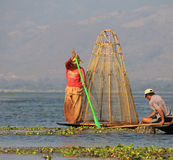 Fishing on Inle Lake. In Myanmar Feb 2015 No model release Editorial use only Stock Photo