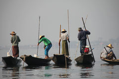 Fishing on Inle Lake. In Myanmar Feb 2015 No model release Editorial use only Royalty Free Stock Images