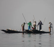 Fishing on Inle Lake. In Myanmar Feb 2015 No model release Editorial use only Stock Photos