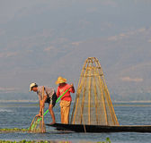 Fishing on Inle Lake. In Myanmar Feb 2015 No model release Editorial use only Royalty Free Stock Image