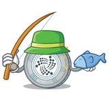Fishing IOTA coin character cartoon. Vector illustration Stock Images