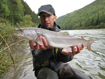 Fishing, Irkut river, Sayan mountains, Siberia, Russia, Siberian landscapes Stock Photos