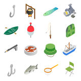 Fishing isometric 3d icons set Stock Photo