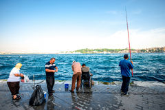 Fishing in Istanbul royalty free stock photos