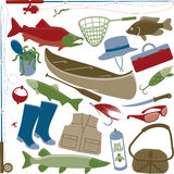 Fishing Items. Illustrations of items related with the fishing topic. File is perfect for the scrapbook enthusiast Royalty Free Stock Photos