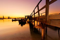 Fishing Jetty. Jetty near fishing village in Bahrain during sunset Royalty Free Stock Images
