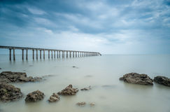 Fishing Jetty on Long Exposure Royalty Free Stock Image