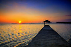 Fishing jetty at Port Dickson during sunset Stock Images
