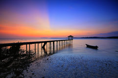 Fishing jetty at Port Dickson during sunset Stock Image