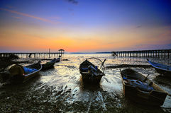 Fishing jetty at Port Dickson during sunset Royalty Free Stock Photo