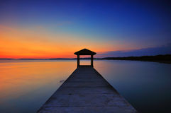 Fishing jetty at Port Dickson during sunset Royalty Free Stock Photos