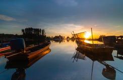 Fishing jetty during sunrise. This fishing jetty at kelantan malaysia Stock Photography