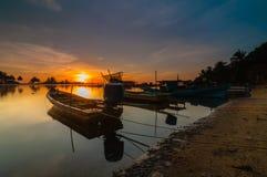 Fishing jetty during sunrise. This fishing jetty at kelantan malaysia Royalty Free Stock Image