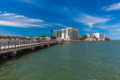 Fishing jetty at a Woody Point, Redcliffe, Australia. BRISBANE, AUS - NOV 1 2015: Fishing jetty at a Woody Point, Redcliffe, Queensland, Australia. Woody Point stock image