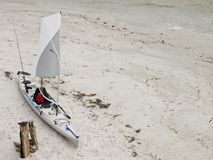 Fishing kayak o the beach 5. Photo image of a fishing kayak on a beach in Florida Royalty Free Stock Images
