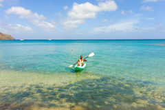 Fishing in a kayak in the windward islands Royalty Free Stock Photos