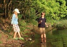 Fishing kids Stock Image