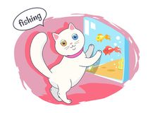 Fishing Kitten Color Poster Vector Illustration. Fishing kitten colorful card vector illustration of white cat with different colors eyes, nice pink collar on Royalty Free Stock Photography