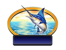 Fishing label. Marlin jumping out of water in a label with copy-space. Digital illustration Stock Photos