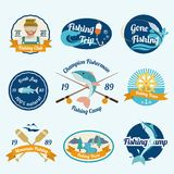 Fishing label set Stock Photos