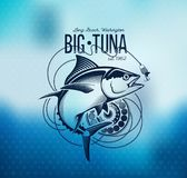 Fishing labels, badges, emblems and design elements. Illustrations of Tuna Royalty Free Stock Image