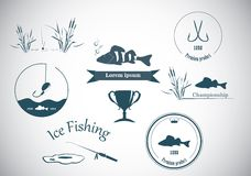 Fishing labels and design elements stock illustration