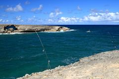 Fishing Laie Point, Oahu, Hawaii Stock Images