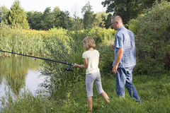 Fishing on lake Royalty Free Stock Photo