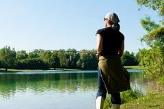 Fishing at the lake stock photo