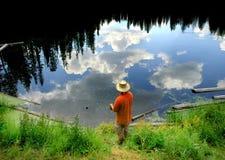 Fishing in Lake Stock Photo