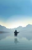 Fishing on lake royalty free illustration