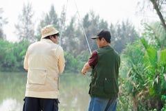 Fishing on the lake Stock Image