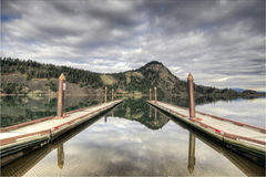 Fishing Lake Boat Docks. Along Columbia Gorge Royalty Free Stock Photo