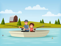 Fishing on the lake. Father and son go fishing while sitting in Royalty Free Stock Photography