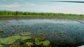 Fishing on the lake. Fish rod. crucian, small boat fishing. Cinema camera footage. stock video