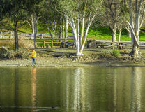 Fishing at the lake Stock Photography