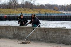 Fishing on lake michigan Royalty Free Stock Photos