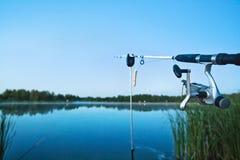 Fishing on lake Stock Photography