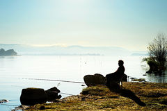 Fishing on the lake Stock Photography