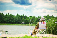 Fishing in Lake Royalty Free Stock Images