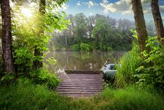 Fishing lake in sunny evening Royalty Free Stock Photos