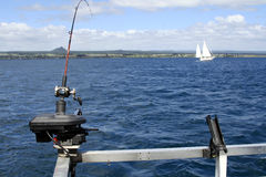 Fishing Lake Taupo, New zealand stock photo