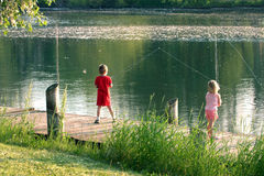 Fishing in Lansing, MI royalty free stock images