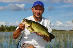 Man Fishing Large Mouth Bass stock photography